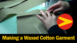 A brief glimpse into the daily grind of making a Vanson waxed cotton garment.