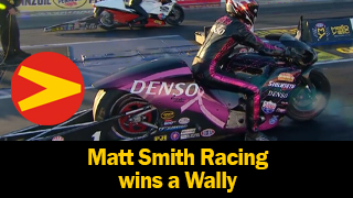 Matt Smith Racing wearing his Vanson leaves The Strip at Las Vegas Motor Speedway with the Wally AND both ends of the track record!