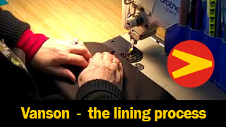 A brief look into the daily work of creating a Vanson Leathers garment-the lining process.